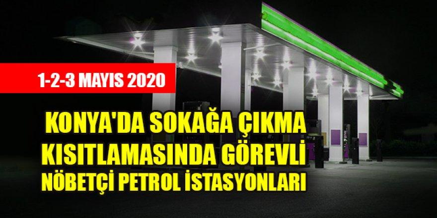 Konya'da sokağa çıkma kısıtlamasında görevli nöbetçi petrol istasyo