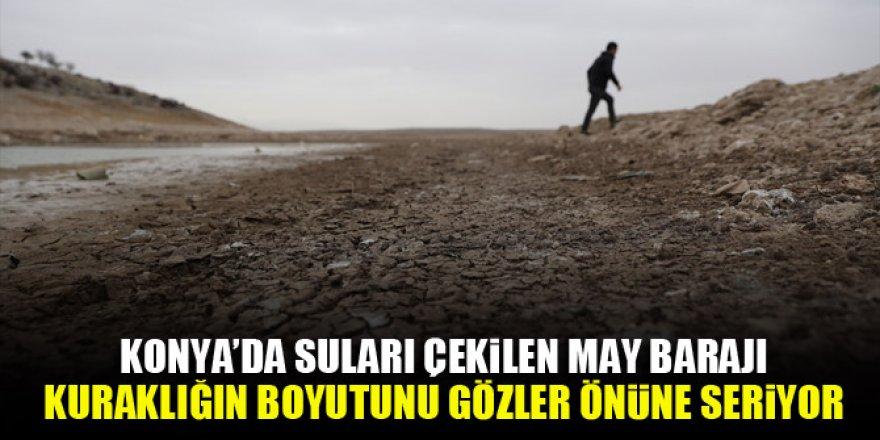 Konya'da suları çekilen May Barajı, kuraklığın boyutunu gözler önüne seriyor