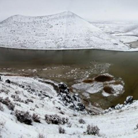Meke Gölü'nde kar manzarası 5