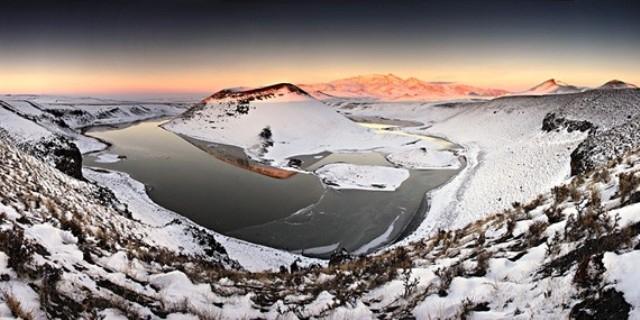 Meke Gölü'nde kar manzarası 7