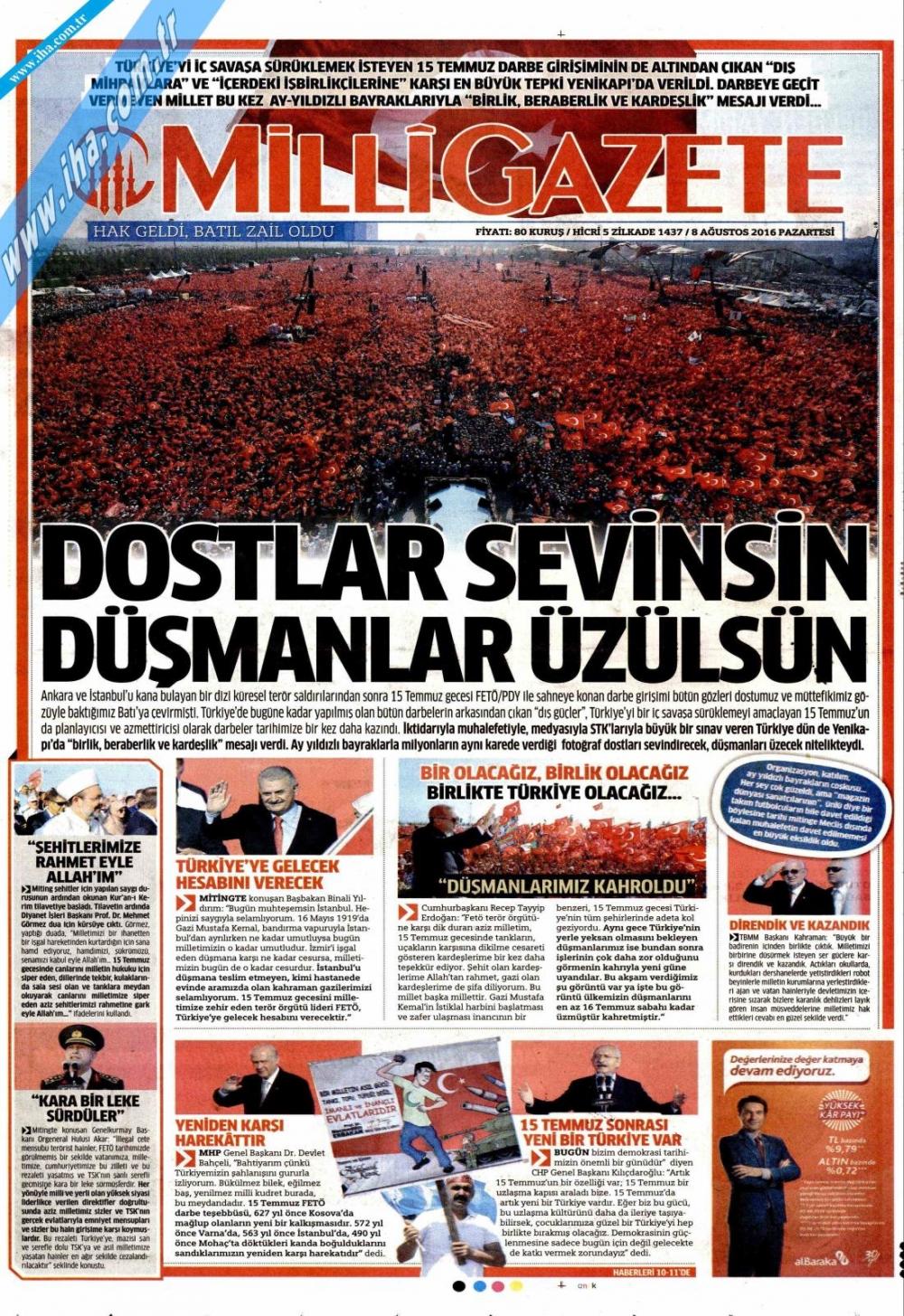 Gazeteler tarihi Yenikapı Mitingi'ni böyle gördü 10