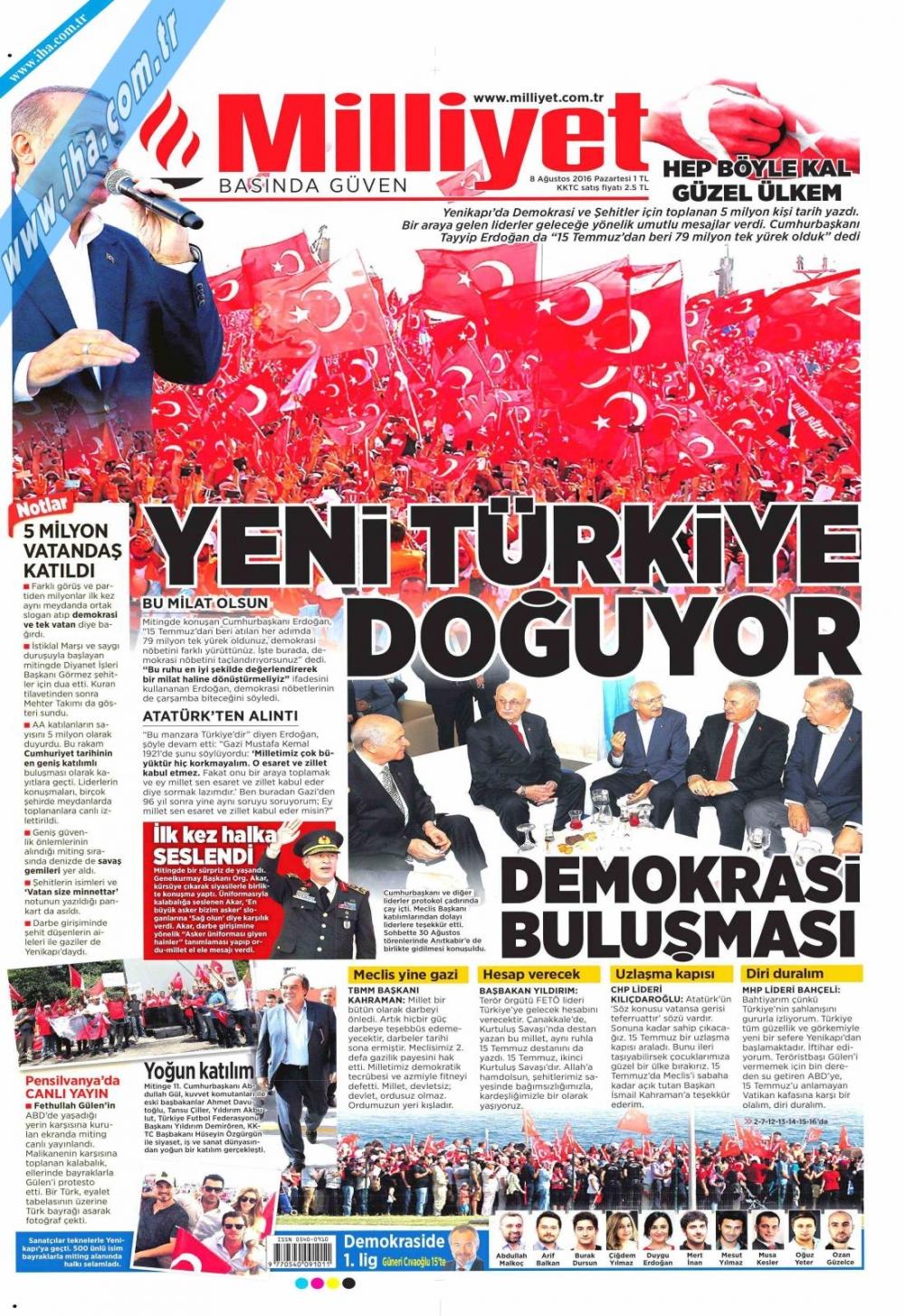 Gazeteler tarihi Yenikapı Mitingi'ni böyle gördü 11