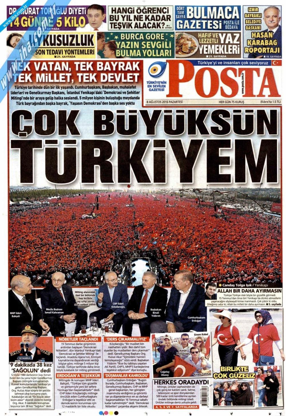 Gazeteler tarihi Yenikapı Mitingi'ni böyle gördü 14