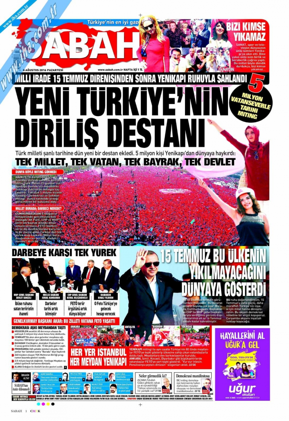 Gazeteler tarihi Yenikapı Mitingi'ni böyle gördü 15