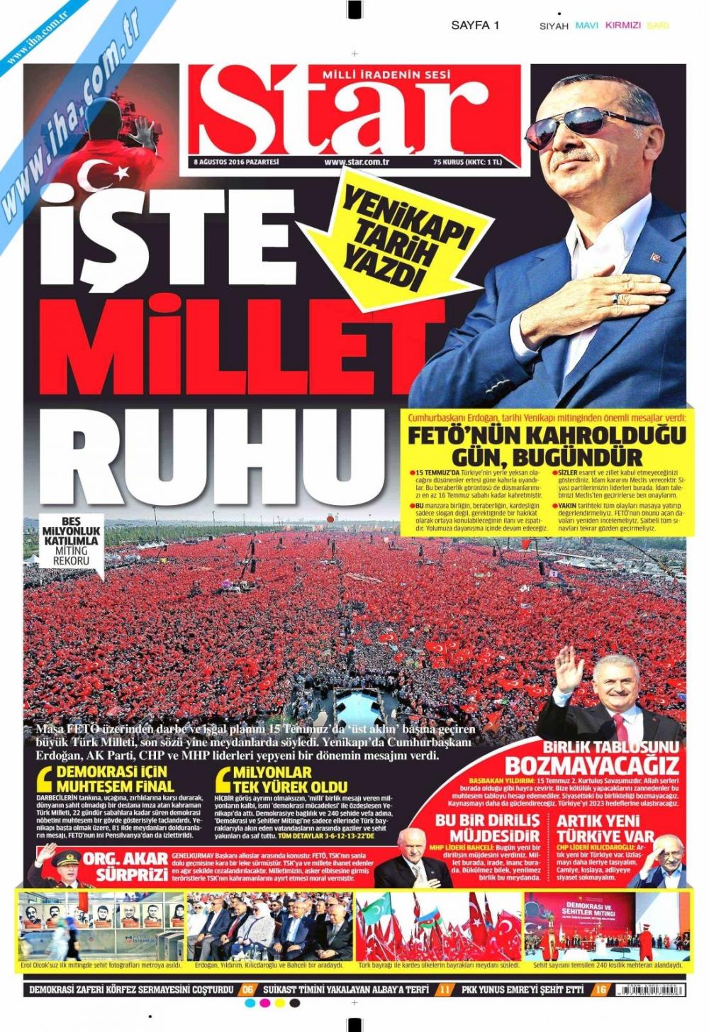 Gazeteler tarihi Yenikapı Mitingi'ni böyle gördü 16