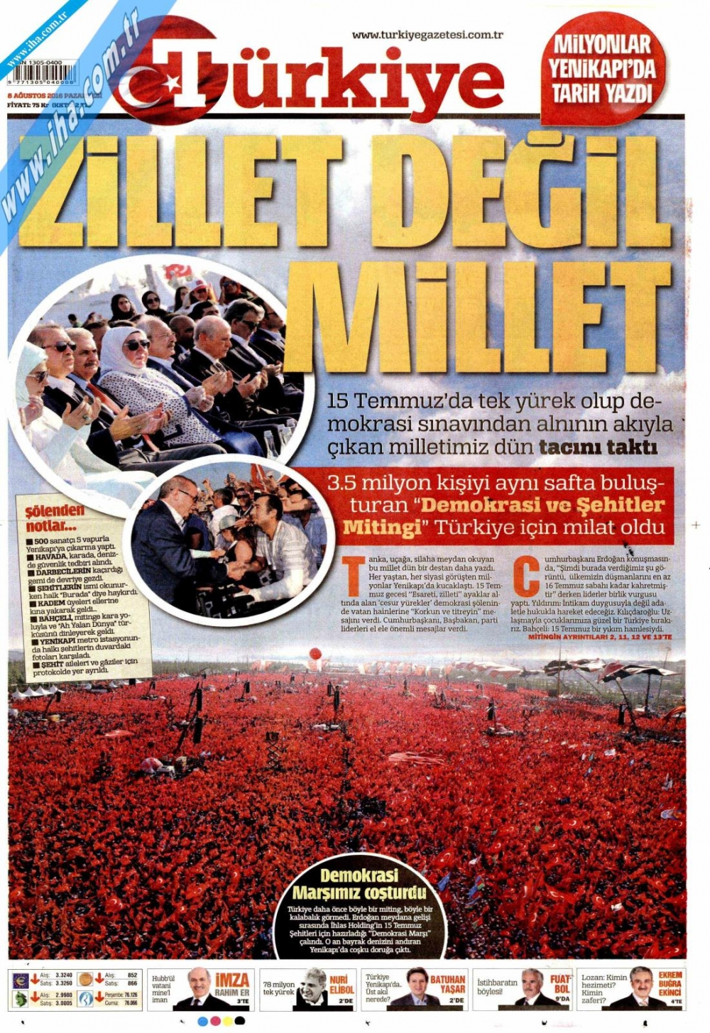 Gazeteler tarihi Yenikapı Mitingi'ni böyle gördü 18