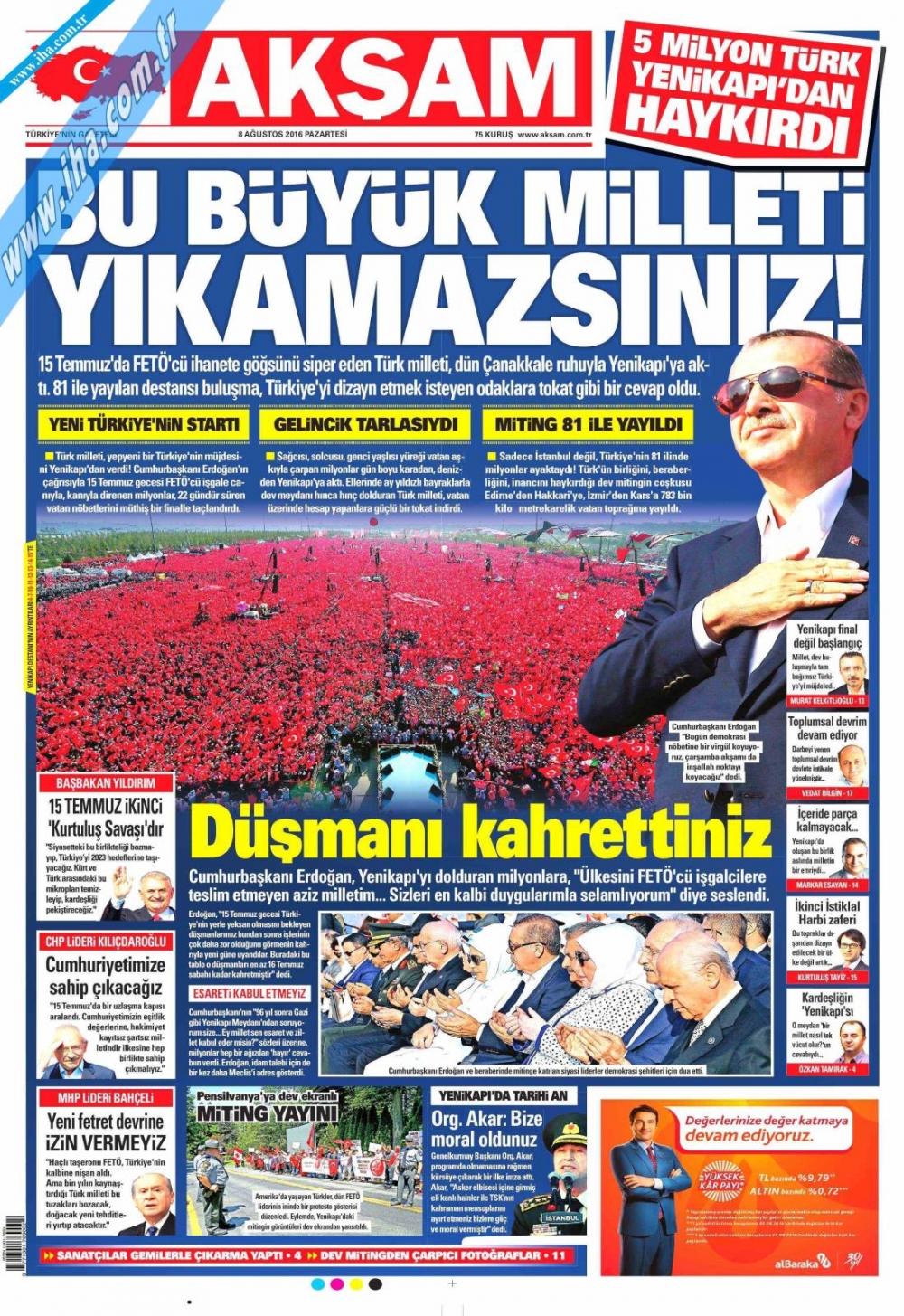 Gazeteler tarihi Yenikapı Mitingi'ni böyle gördü 2