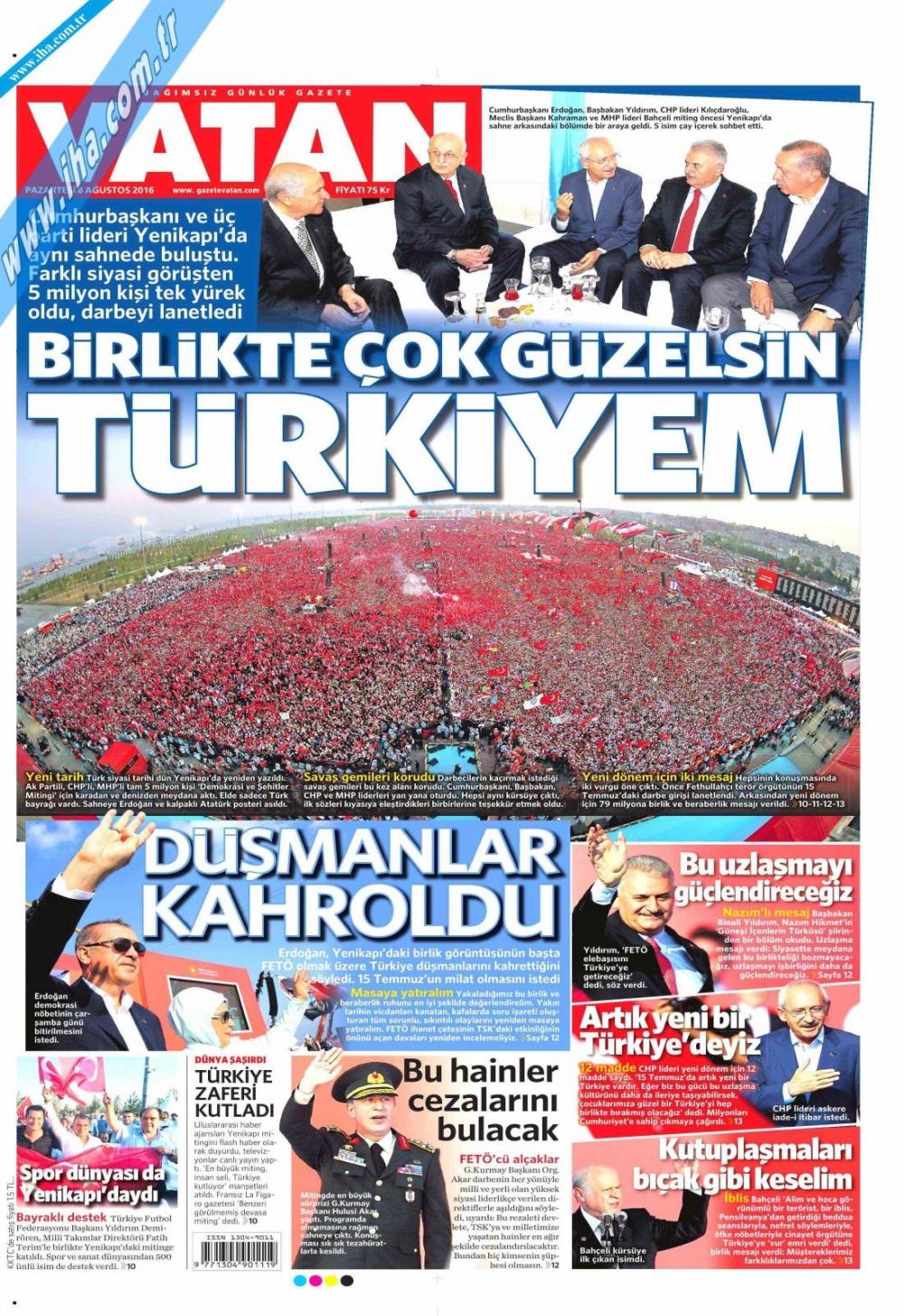 Gazeteler tarihi Yenikapı Mitingi'ni böyle gördü 20