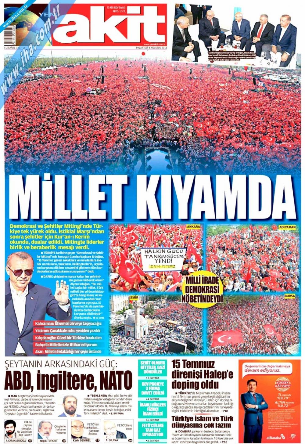 Gazeteler tarihi Yenikapı Mitingi'ni böyle gördü 22