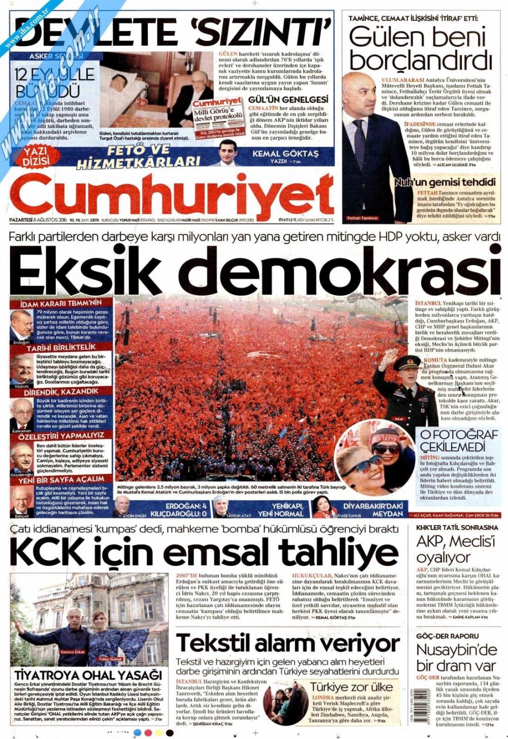 Gazeteler tarihi Yenikapı Mitingi'ni böyle gördü 3