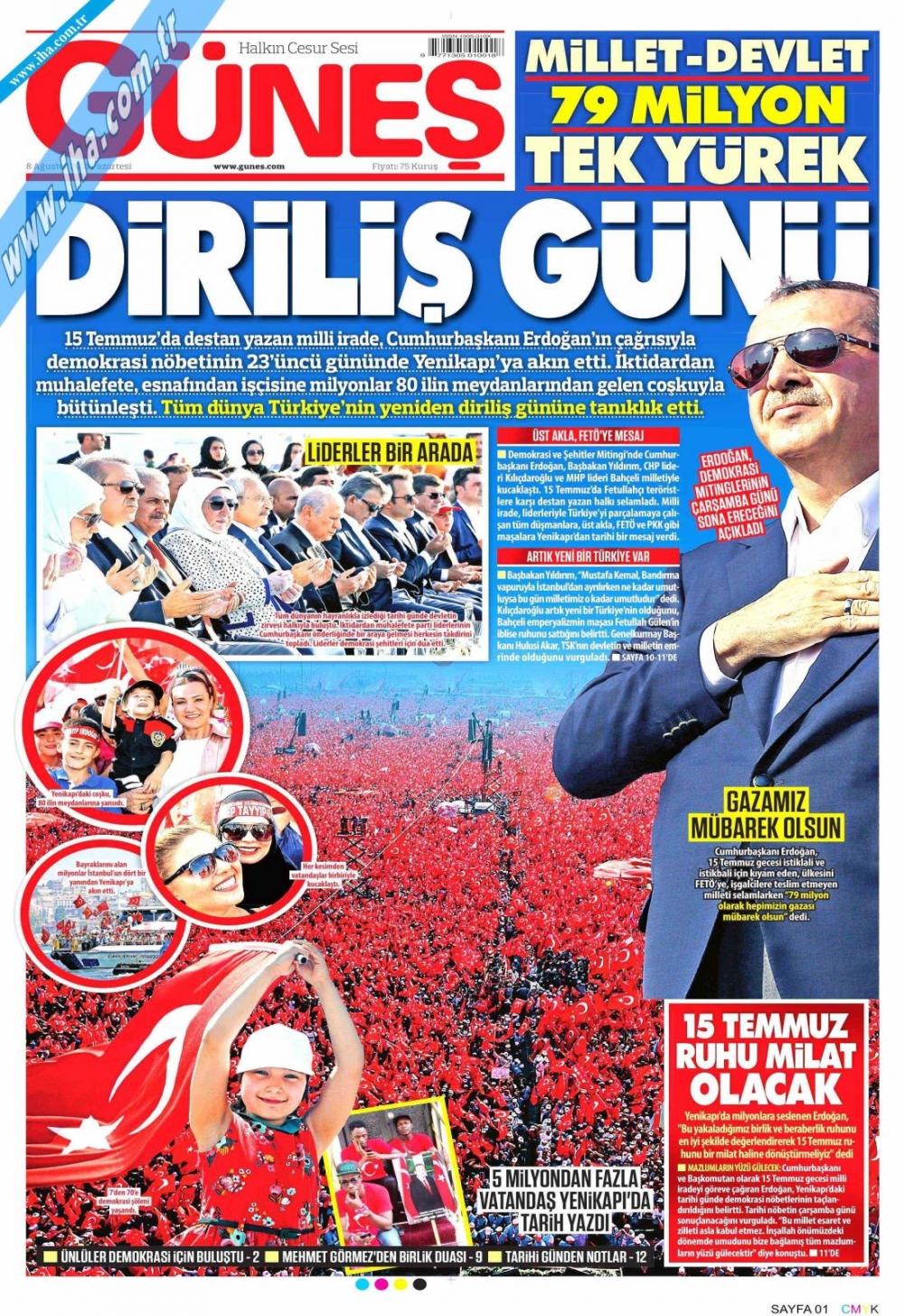 Gazeteler tarihi Yenikapı Mitingi'ni böyle gördü 5