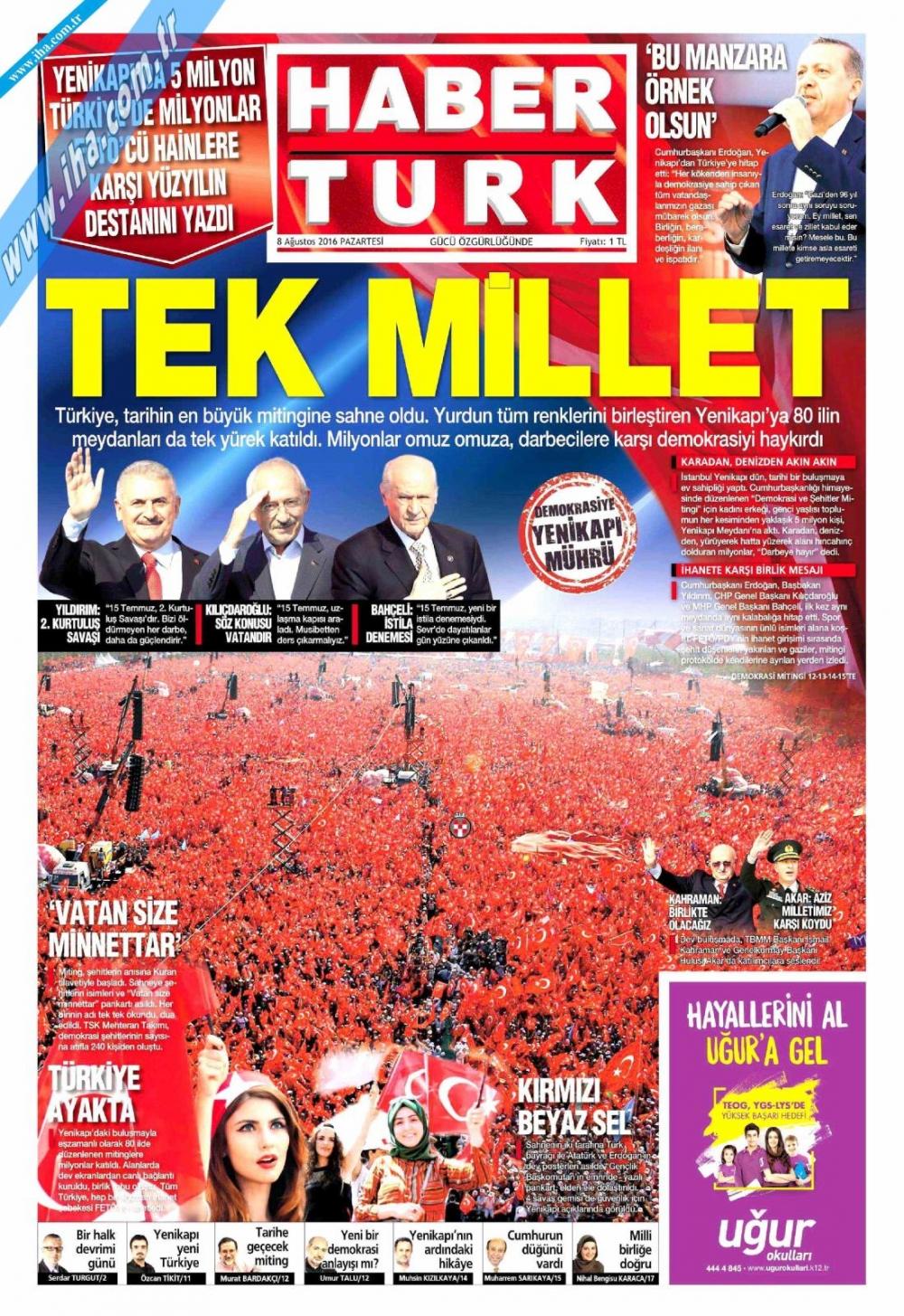 Gazeteler tarihi Yenikapı Mitingi'ni böyle gördü 6