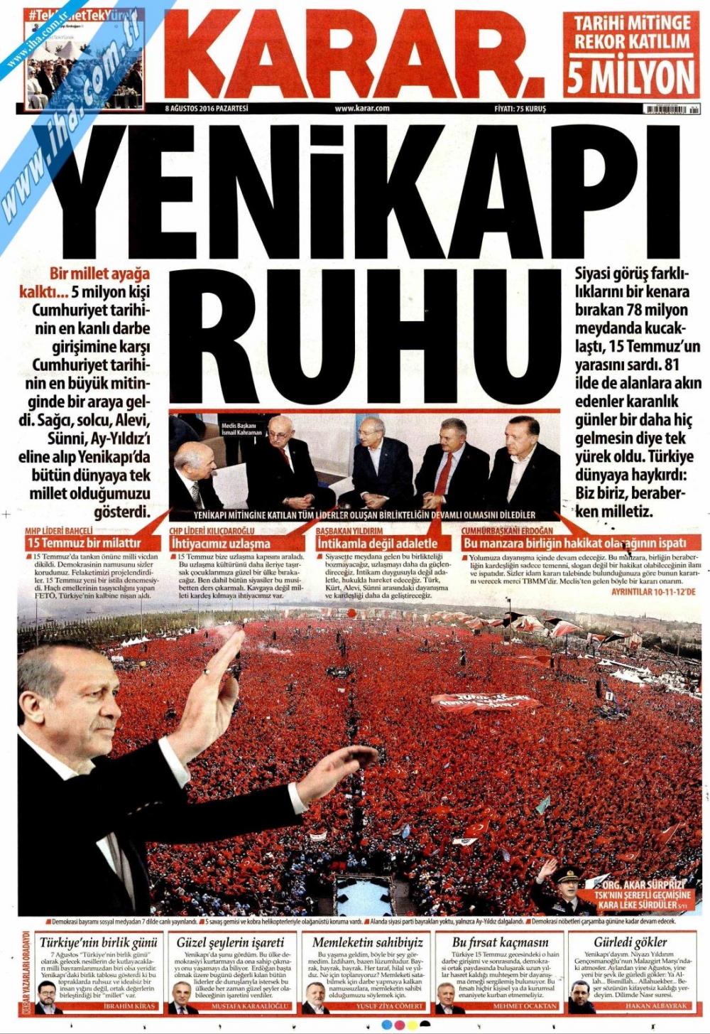 Gazeteler tarihi Yenikapı Mitingi'ni böyle gördü 8
