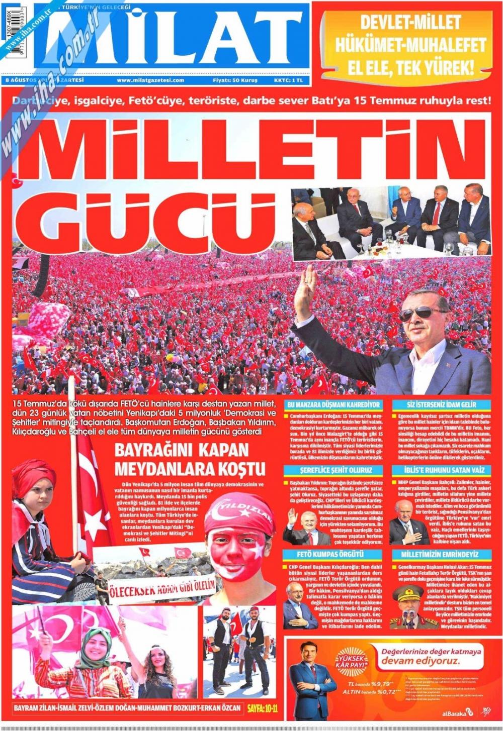 Gazeteler tarihi Yenikapı Mitingi'ni böyle gördü 9