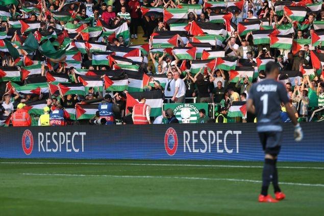 Celtic taraftarı Filistin bayrağı açtı 6