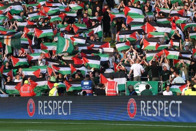 Celtic taraftarı Filistin bayrağı açtı 7