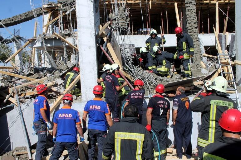 Konya'da okul inşaatında göçük: 1 ölü 2