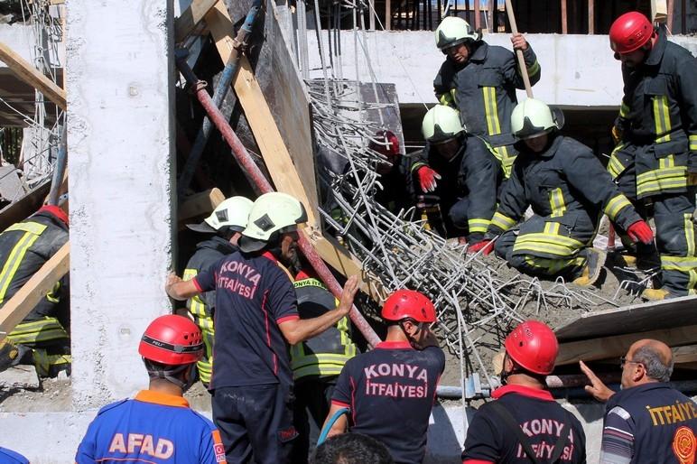 Konya'da okul inşaatında göçük: 1 ölü 3