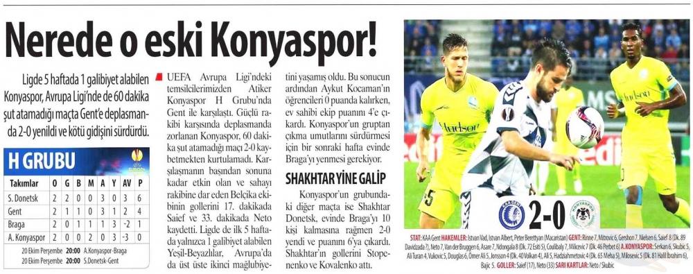 KAA Gent-Atiker Konyaspor maçının basına yansımaları 1