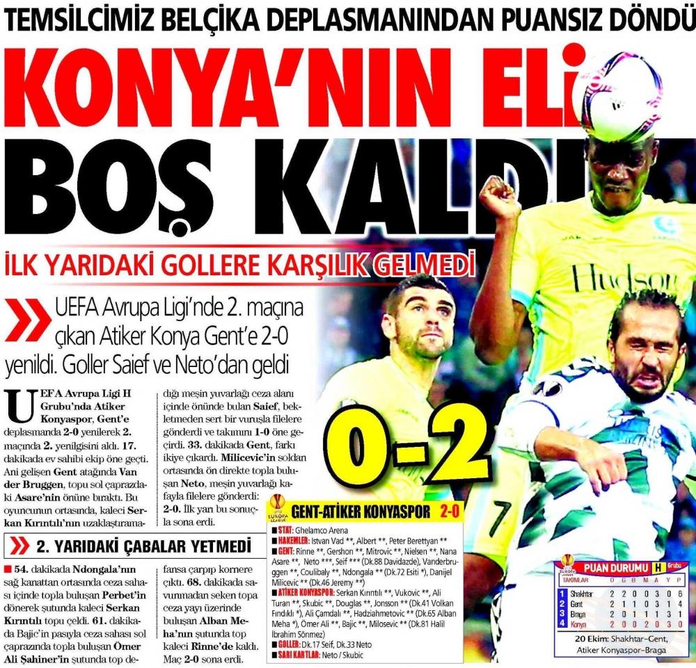 KAA Gent-Atiker Konyaspor maçının basına yansımaları 11