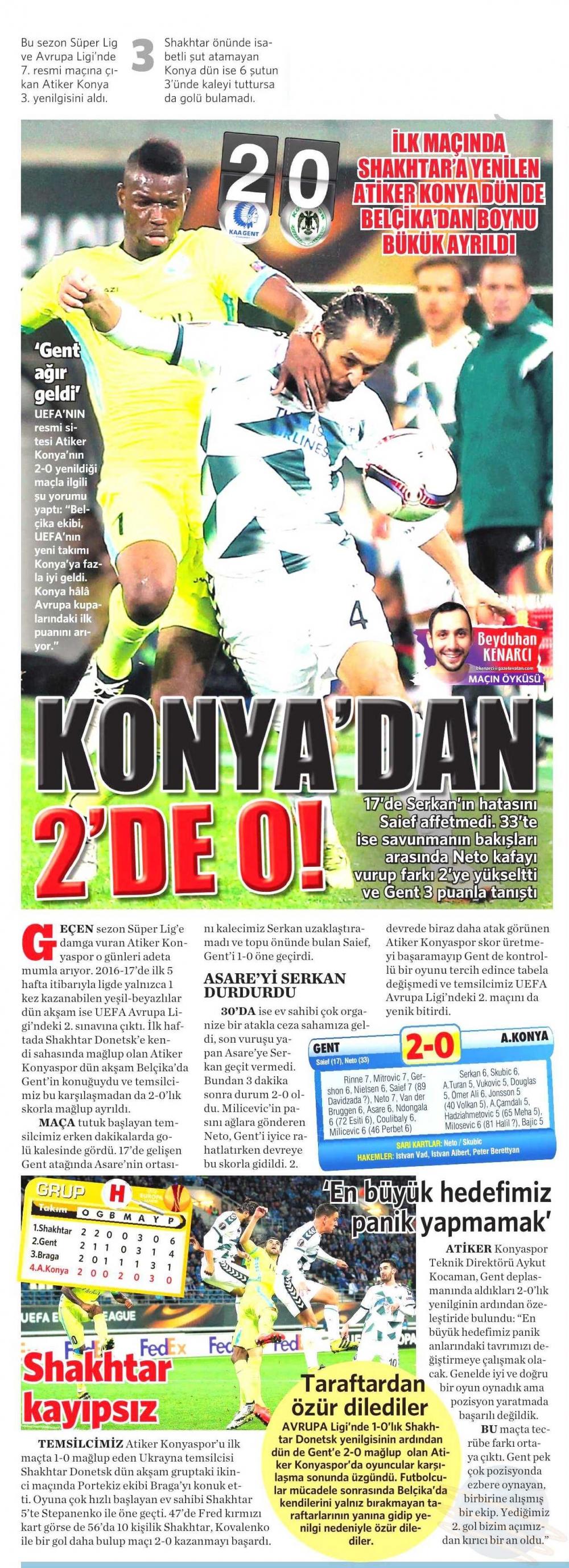 KAA Gent-Atiker Konyaspor maçının basına yansımaları 13