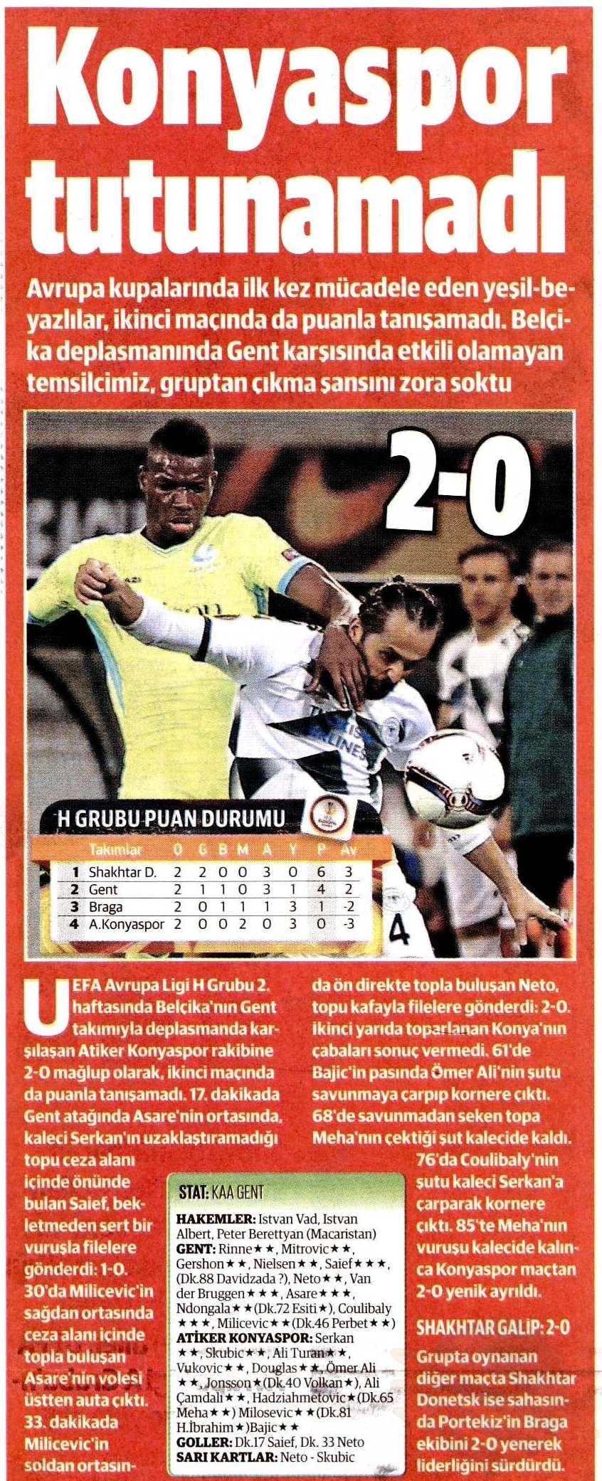 KAA Gent-Atiker Konyaspor maçının basına yansımaları 2