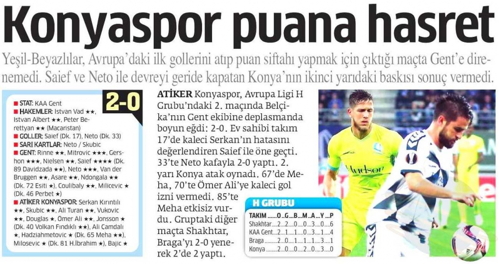 KAA Gent-Atiker Konyaspor maçının basına yansımaları 3