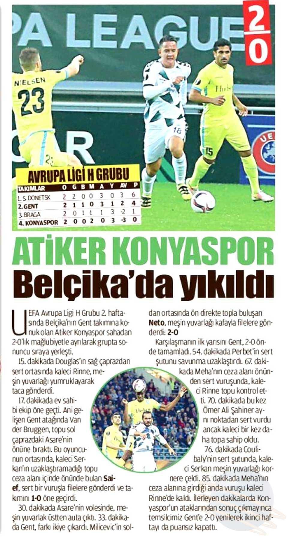KAA Gent-Atiker Konyaspor maçının basına yansımaları 4