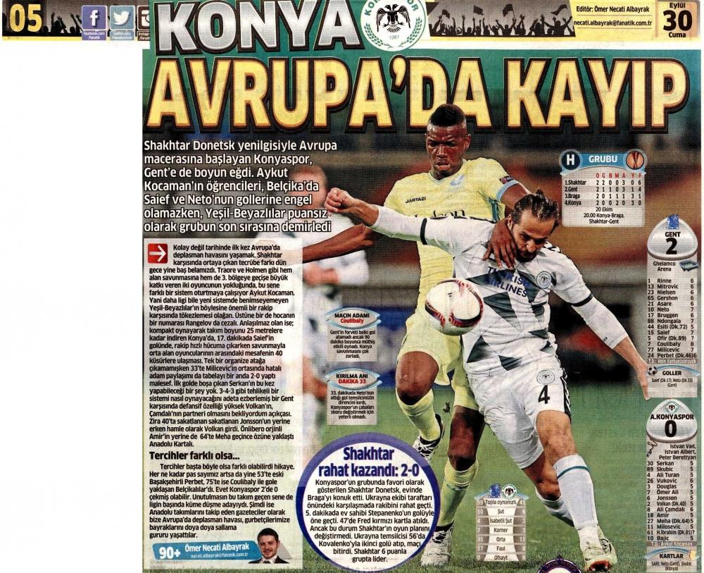 KAA Gent-Atiker Konyaspor maçının basına yansımaları 5
