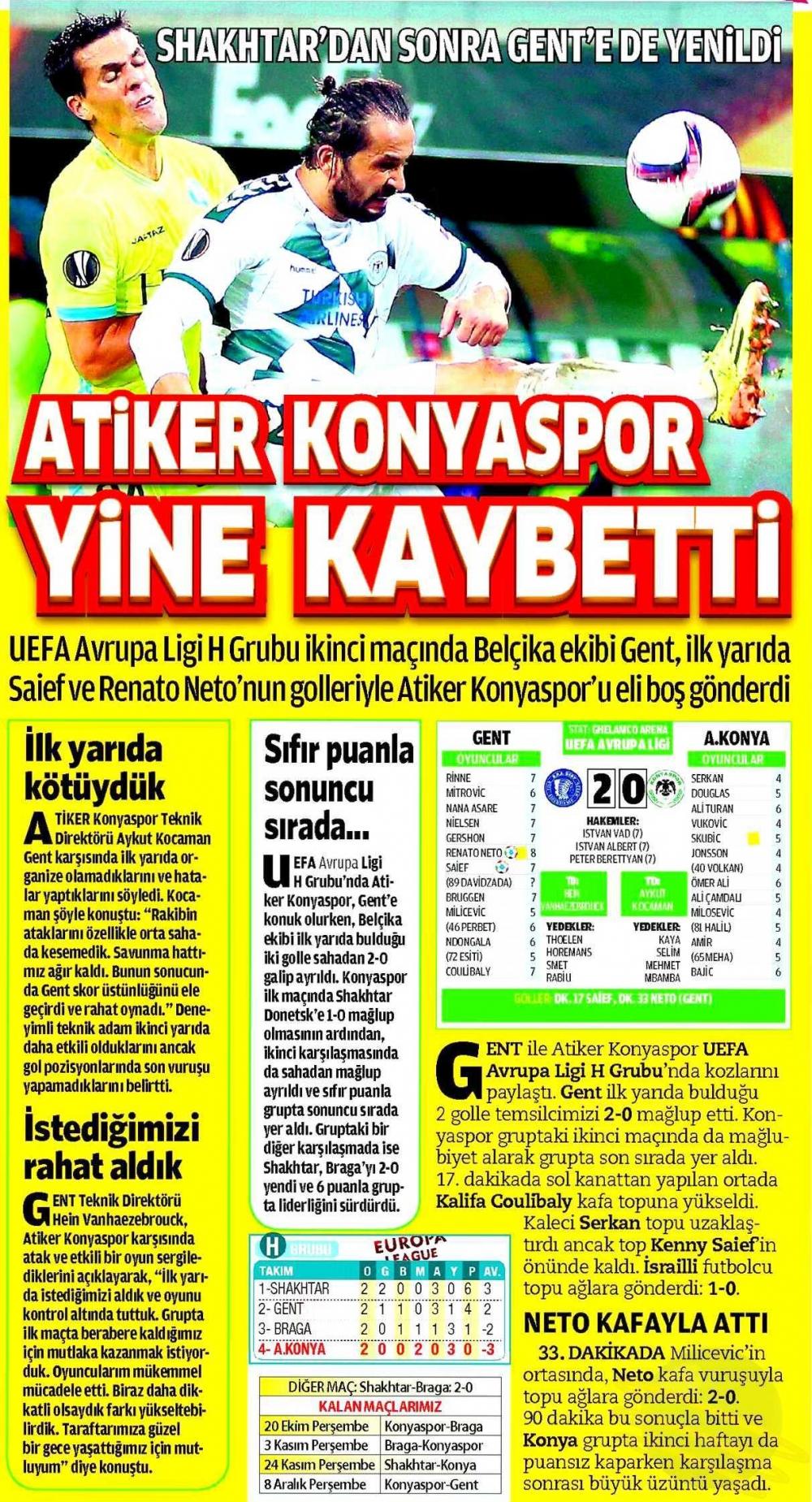 KAA Gent-Atiker Konyaspor maçının basına yansımaları 6