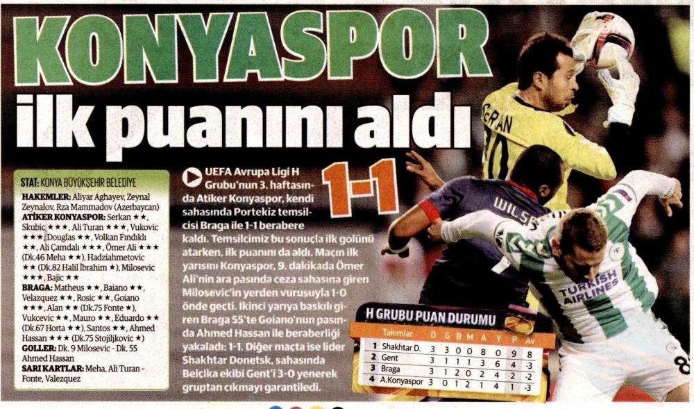 Atiker Konyaspor - SC Braga maçının basına yansımaları 1