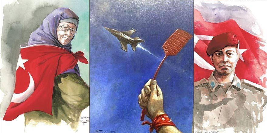Sanatçı Reza Hemmatirad'ın çizgileriyle '15 Temmuz'
