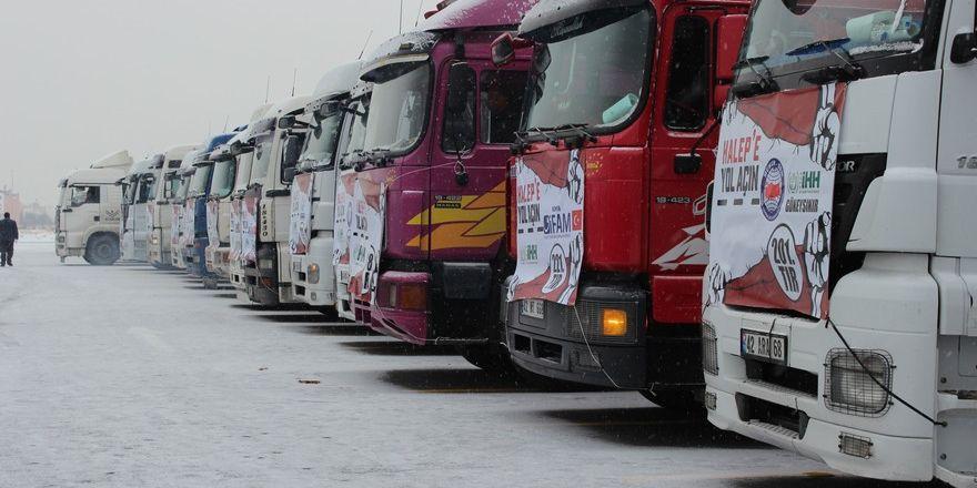 Halep'e yardım tırları Konya'dan yola çıktı