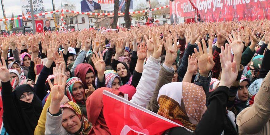 Konya'daki tarihi mitingden kareler