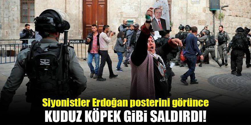 İsrail polisi Erdoğan posteri taşıyan kadına saldırdı
