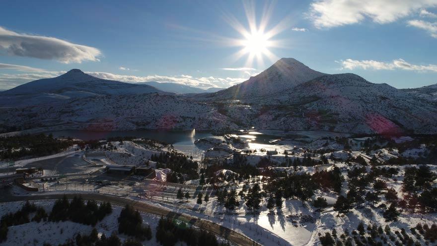 Sille Baraj Parkındaki kar manzarası havadan böyle görüntülendi 1