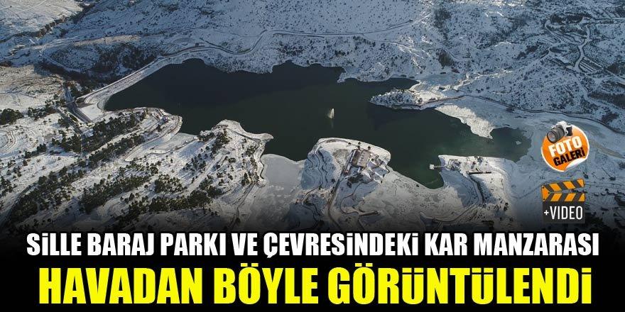 Sille Baraj Parkındaki kar manzarası havadan böyle görüntülendi