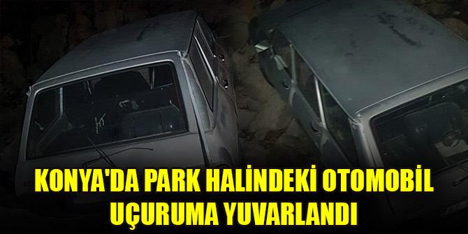 Konya'da park halindeki otomobil uçuruma yuvarlandı