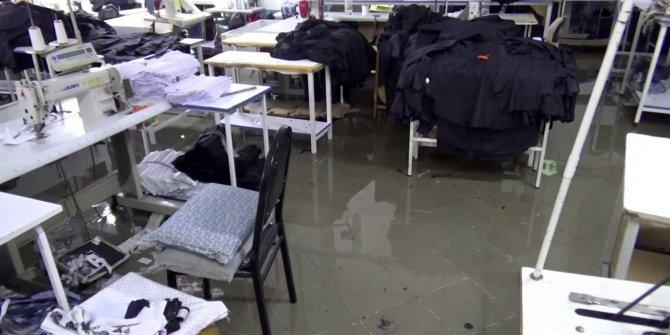 Rögar taştı, tekstil firması su altında kaldı