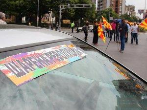 Makedonya'da eylemciler başkentte bazı sokakları kapattı