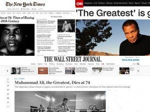 Muhammed Ali'nin vefatı ABD medyasında geniş yer buldu