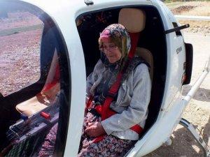 80 yaşında ilk kez cayrokopter ile uçtu