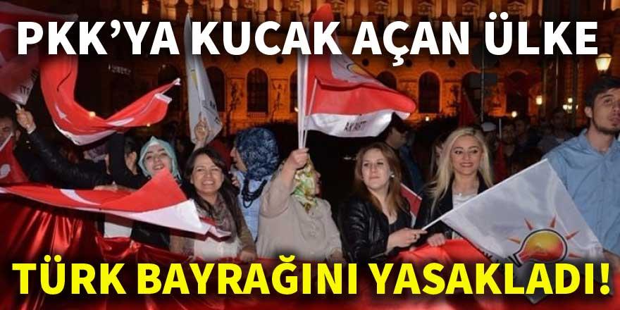 PKK'ya kucak açan ülke Türk bayrağını yasakladı!