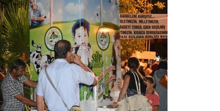 Demokrasi nöbetinde süt ikramı