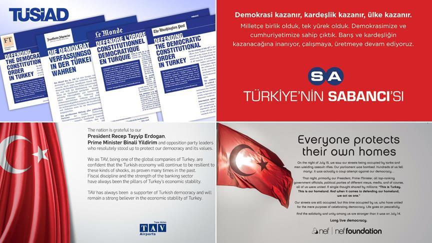 Türk şirketlerinden dünyaya 'demokrasi' ilanı