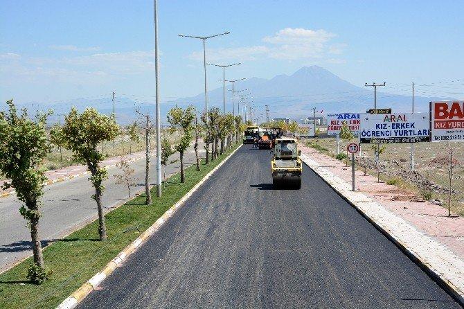 Aksaray Belediyesi, üniversitesinin yolunu asfaltlıyor
