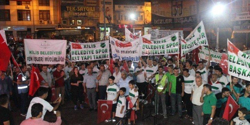 Kilis'te demokrasi nöbeti mehterli gösteriyle son buldu