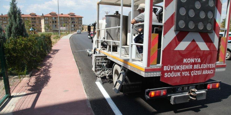 Seydişehir belediyesi yol çizgi çalışmalarına başladı