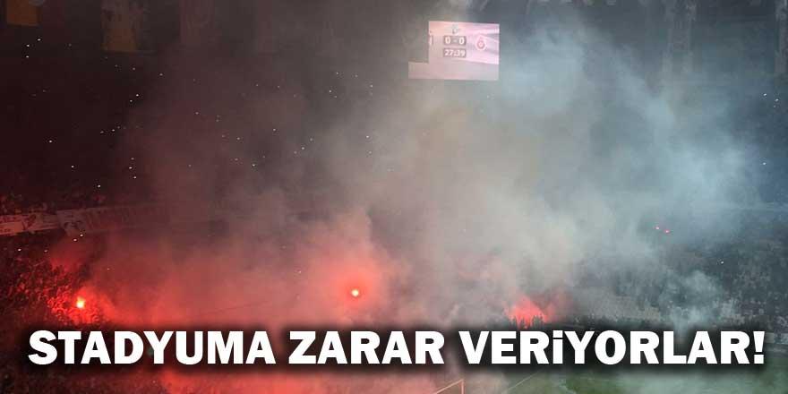 Galatasaray taraftarı Konya Arena'ya zarar veriyor