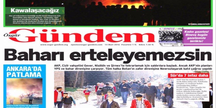 PKK'nın yayın organı Özgür Gündem gazetesi kapatıldı